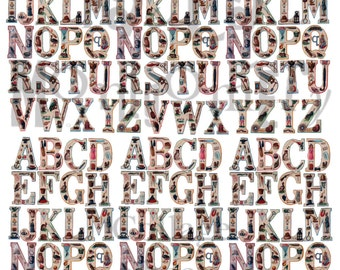 Small Illustrated Alphabet Digital Download Collage Sheet