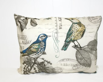 Decorative French Bird  Script Pillow Cover