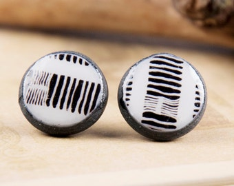 Barcode Earrings - Black and White Jewelry - Geometric Posts - Black And White Earrings - Striped Earrings - Striped Buttons - Lace Jewelry