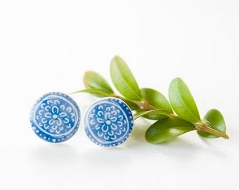 Blue Stud Earrings, Round Stud Earings, Tiny Blue And White Earrings