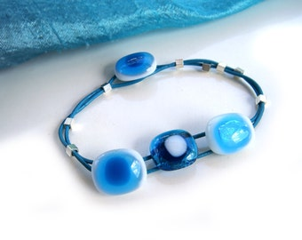 Blue fused glass bracelet