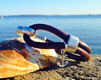 Sailwinds Nautical Bracelet - Captain Hook - Leather Anchor Charm Bracelet Hand-Crafted in Maine