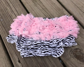 SALE Zebra Bloomers with pink ruffles