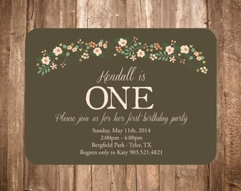 Shabby Chic First Birthday Invitation; Floral Swag; Printable or set of 10