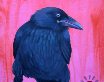 PRETTY In PINK raven -  raven, crow, native american, indian, corvid, love