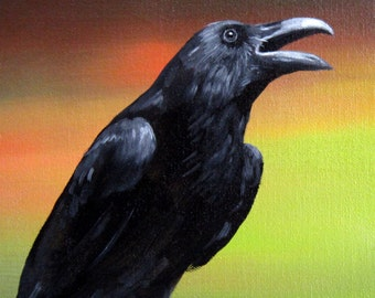 SUNSET RAVEN -   raven, crow, native american, indian, corvid, love
