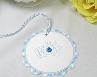 10 Baby Tags.... Gift Tags/ Boy Baby Shower Favor Tags/Tags/Thank You Tags/Blue/Baby Boy/It's a Boy Baby Tags/New Baby Boy Tags/Boy Baby Tag