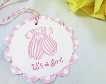 10 Baby Tags.... Gift Tags/ Baby Shower Favor Tags/Tags/Gift Tags/Pink/Baby Girl/It's a Girl Baby Tags/ Girl Baby Tags/ New Baby Girl Tags