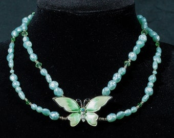 Spring Green Butterfly Beaded Necklace