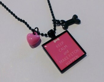 Keep Calm and Make Fetch Happen Black and Pink Cameo Necklace