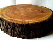 Rustic Wood Cake Stand- Personalization- Tree Slice- Wood Slab