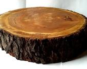 Rustic Wood Cake Stand- Personalization- Tree Slice- Wood Slab