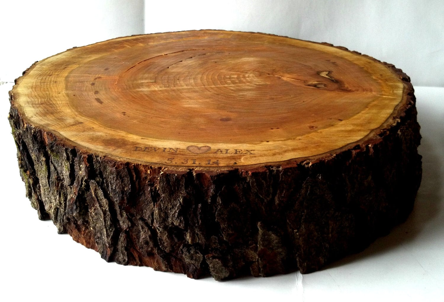 Rustic Wood Cake Stand Personalization Tree Slice Wood Slab