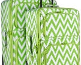 Two piece Luggage Set.  Chevron Print in Lime,Pink, Purple or Teal