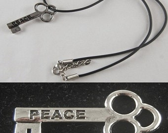 "Peace Mini Key Necklace with 18"" - 19 1/2"" Adjustable Black Cord"