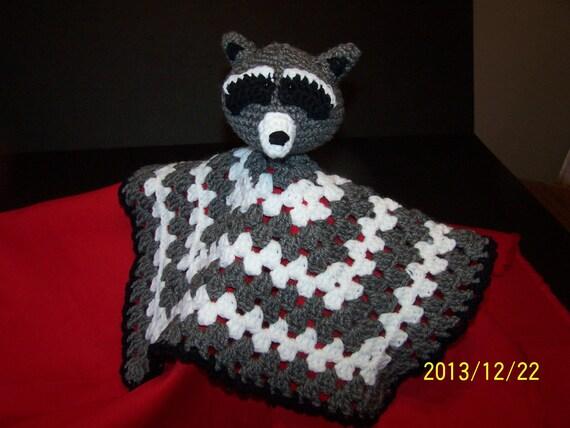 Amigurumi Baby Blanket : Hand Crocheted Amigurumi RACCOON Baby Security Blanket