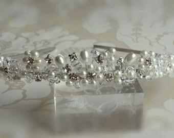 handmade swarovski crystal diamante and ivory pearl wedding bridal hair tiara
