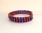 Blue and Orange Seed Bead Memory Wire Bracelet