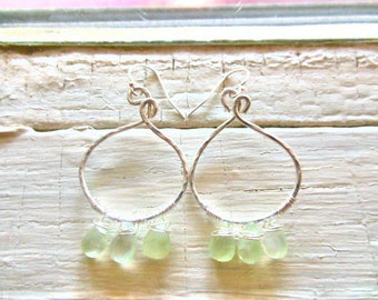 Sterling silver swirly hoop earrings with prehnite gemstones