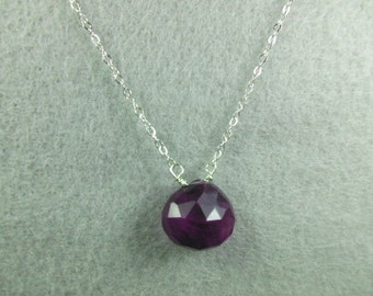 Necklace amethyst on a sterling silver chain-Gemstone necklace-Gold fill necklace