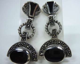 ART DECO silver earrings with marcasite and onyx