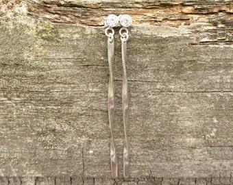 Long sterling Silver twist earrings, spiral earrings, topaz gemstone, silver dangle earrings