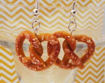 Salted Pretzel Earrings Polymer Clay, Miniature Clay Dessert Food Jewelry, Hook Earrings