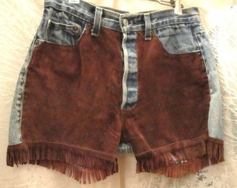 Vintage 80's Los Angeles Levi Strauss Denim Shorts with brown suede front & fringe