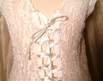 Beautiful Cream Stretch Lace Vest