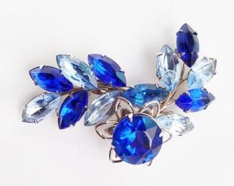 Brillant Vintage Light & Sapphire Blue Marquis Rhinestone Silver Spray Pin Brooch