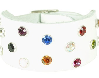 "Leather bracelet ""white swarovski"""