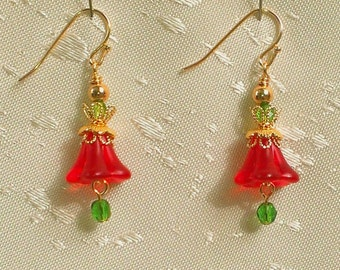 """Holiday Earrings, Drop Style Errings, Czech Glass Beads, Red Lusite Florettes, Gold Plated Filigree Findings, """"Bell Flower"""""""