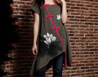 Hand Painted Women Long Shirt Lotus Short Sleeve Fashion Blouse