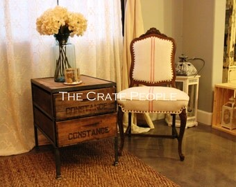 Double Crate Side Table or Nightstand - Vintage Crates and 100+ yr old Barn Wood -Custom Made Furniture
