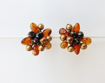 orange and blue beads VINTAGE Earrings   -jewelry -  vintage clip-on earrings -50s - West Germany
