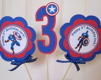 Captain America Party - 3 Centerpiece Sticks