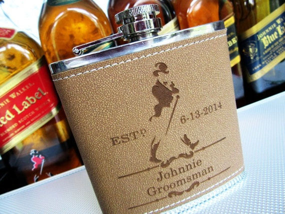 12 personalized flask leather groomsman flask liquor for Groomsman liquor bottle labels