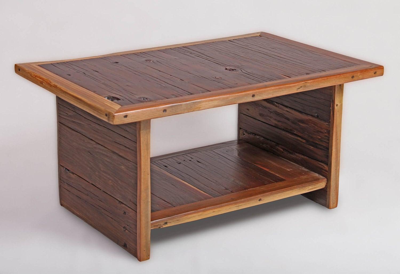 California Redwood Coffee Table Rustic Shelf Coffee Table
