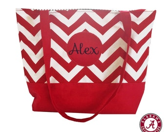 University of Alabama Chevron and Houndstooth Personalized Tote