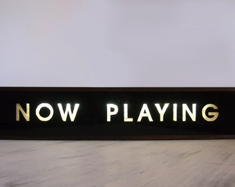 """Large 84cm Hand Painted Wooden LIght Box Signs """"NOW PLAYING"""" Vintage  Illuminated Sign / Table Lamp / Home Cafe Decor"""