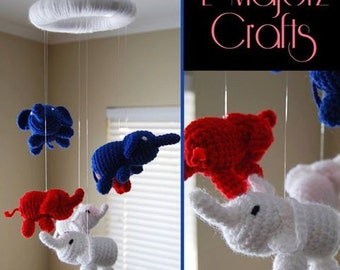 Crocheted elephant mobile Made to order For child bedroom Six elephants mobile