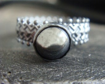 Hematite Crown Ring Oxidized Silver