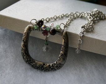 Belt Buckle Necklace, Wire Wrapped Buckle Necklace
