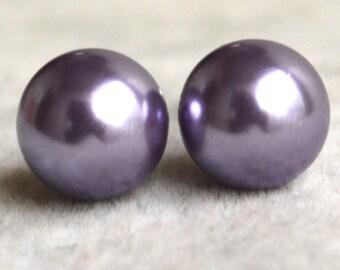 lilac pearl earrings,Glass Pearl earrings,earrings,round pearl stud earrings,bridesmaid earrings,wedding Jewelry