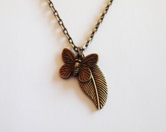 Butterfly on Leaf - Pendants on Bronze-coloured Chain