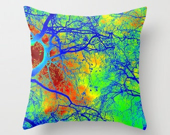 green tree of life cushion cover throw pillow cases covers case red blue yellow art happy hippy bright abstract art gift gifts branch design
