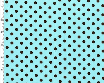 Dumb Dot Aqua Blue with Black Dots - Michael Miller by the Yard
