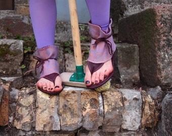 Purple Felted handmade Ankel cuff sandals for women