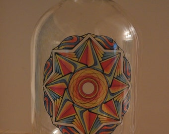 Window Sticker - Hand-Drawn Psychedelic Mandala Design - Transparent and Glossy- Sacred Geometry