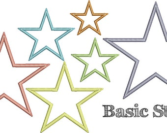 BASIC STAR Applique Design - Instant Download Digital File - Machine Embroidery